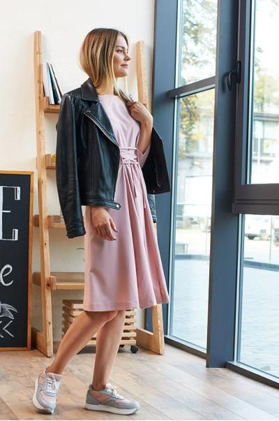 Платье розовое со шнуровкой (П 25)