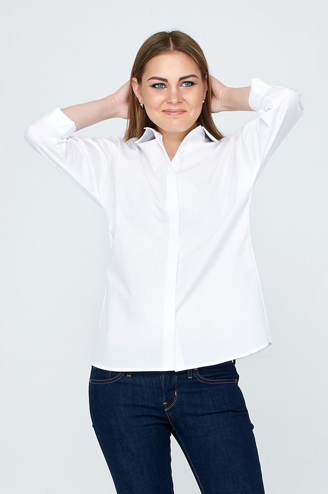 d650c73f664 Женская белая рубашка со спущенным рукавом (арт. Р-24) белая ...