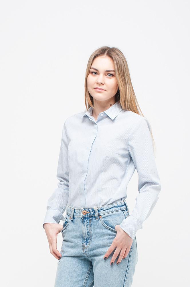 """Рубашка боди серо-белая полоска  в """"точечку"""" (арт. Б-17/1)"""
