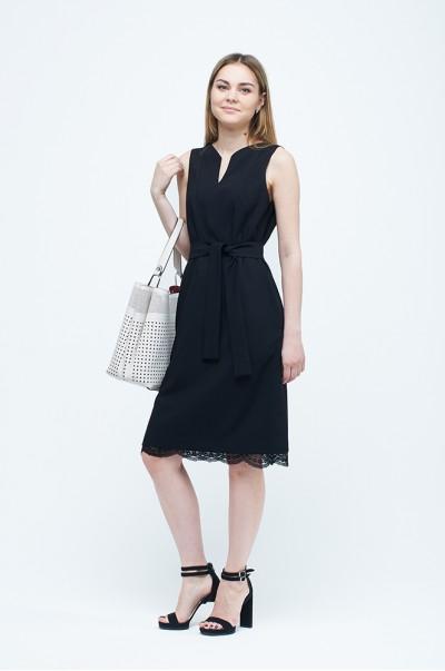 чорна сукня з мереживним подолом (П 21)
