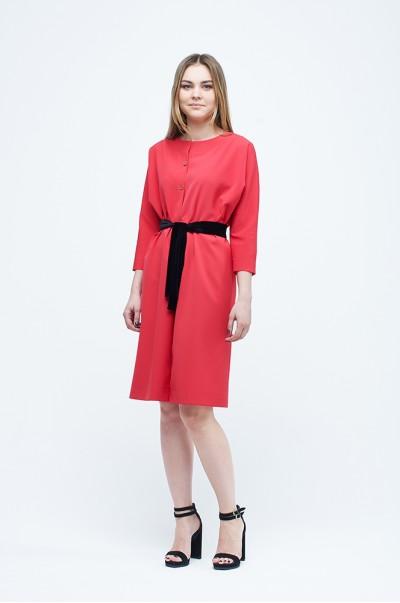 платье - рубашка кораловое (П 19)