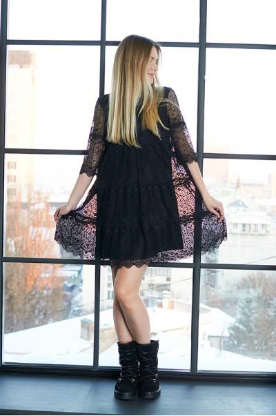 Сукня чорна мереживна А-силует (П 44)